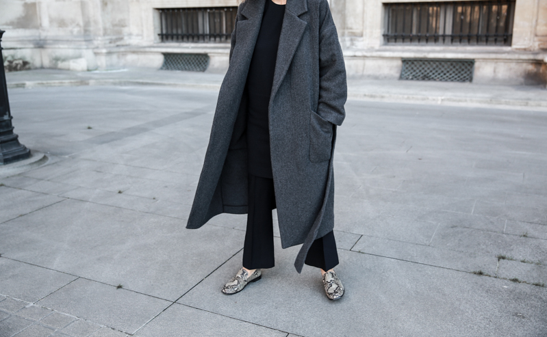 MATCHES x MODERN LEGACY RAEY new season layers Paris fashion week street style snakeskin loafers charcoal wrap coat (1 of 1)