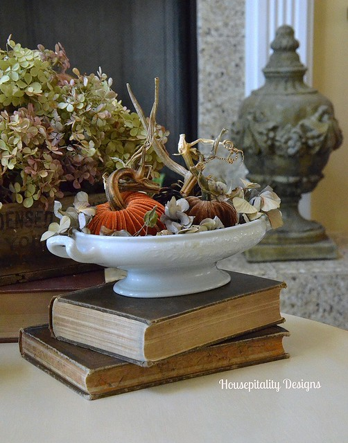 Velvet Pumpkins in Ironstone compote - Housepitality Designs
