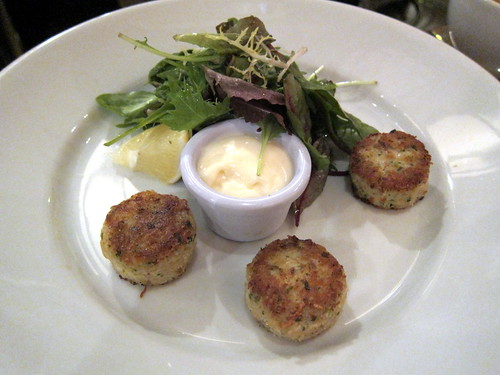 Three crab cakes