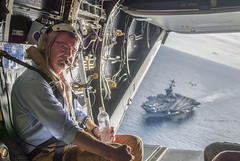 Secretary of Defense Ash Carter flies in a V-22 Osprey after visiting the aircraft carrier USS Theodore Roosevelt (CVN 71) in the South China Sea. (U.S. Air Force/Senior Master Sgt. Adrian Cadiz)