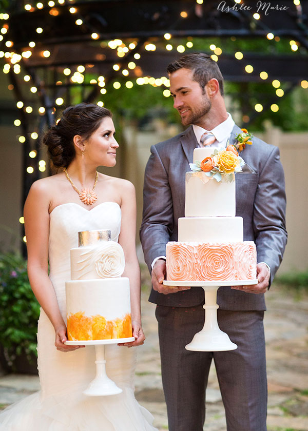 hand painted watercolor and fondant rosettes make beautiful bases for these wedding cakes