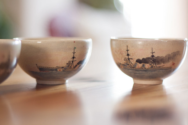 Japanese Warships Painted on Tiny Cups
