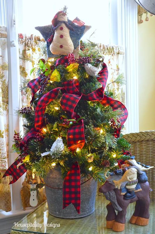 2015 Sunroom Christmas Tree in Vintage Galvanized Bucket - Housepitality Designs