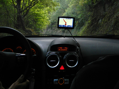 Our spooky looking GPS and dashboard on the Ruta de Ribeira Sacra in northern Spain