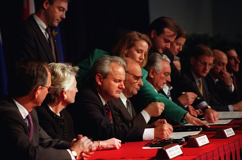 President Milosevic of Yugoslavia, President Izetbegovic of Bosnia and Herzegovina in Dayton Accords