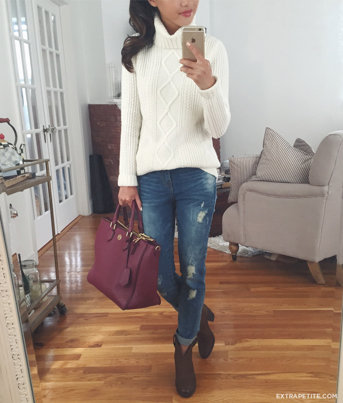 cable sweater boyfriend jeans outfit