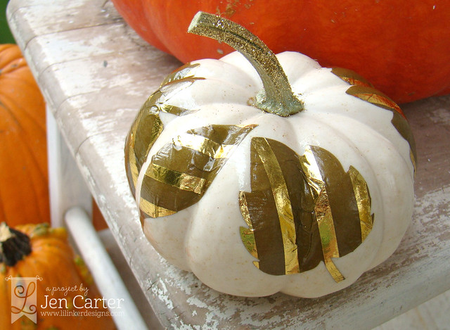 Jen Carter Gold Pumpkin Leaves 9 wm