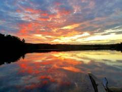 Brilliant sunset over Lake Laurel, Lee, MA
