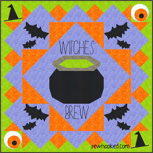 Cauldron Quilt Idea using sewhooked.com free patterns
