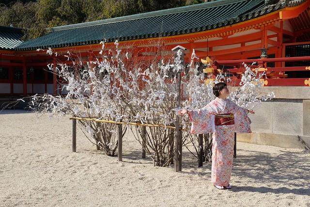 Japanese lady happy to be at Heian Shrine