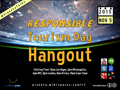 November 5: Responsible Tourism Day Hangout 12pm Vegas/8pm London