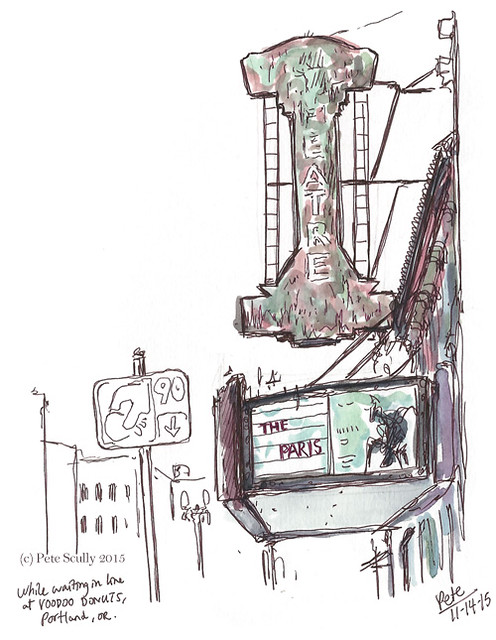 sketching outside voodoo doughnuts