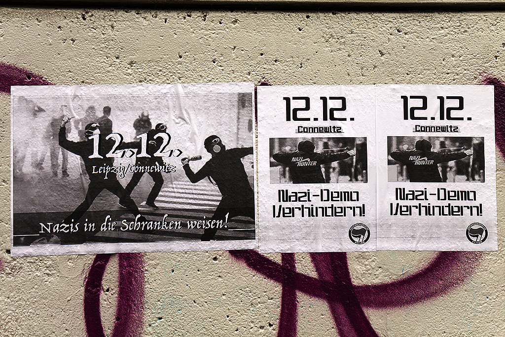 Leftist flyers depicting violence--Leipzig