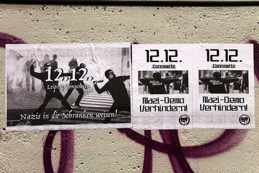 Leftist flyers depicting violence--Leipzig