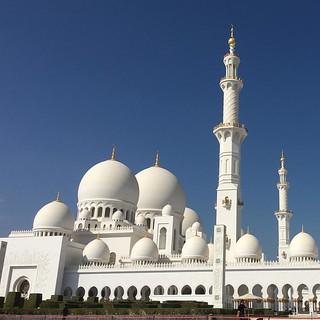 Image of Sheikh Zayed Grand Mosque near Abu Dhabi. blue sky white building square outside worship afternoon exterior minaret muslim islam prayer religion uae middleeast grand mosque abudhabi squareformat dome majestic unitedarabemirates sheikhzayed iphoneography instagramapp