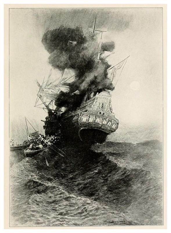 010-el barco en llamas- Howard Pyle's book of pirates..1921