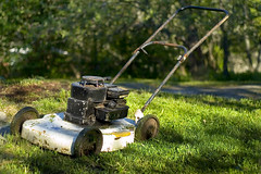 agriculture(0.0), farm(0.0), vehicle(0.0), outdoor power equipment(1.0), machine(1.0), garden(1.0), grass(1.0), yard(1.0), green(1.0), mower(1.0), lawn mower(1.0),