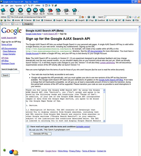 Sign up for the Google AJAX Search API