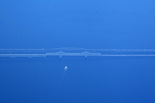 Ghostly view of Chesapeake Bay Bridge