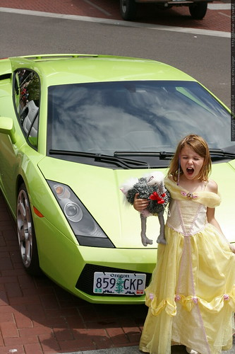 princess jane and her ostritch stopping a green lamborghini    MG 7517