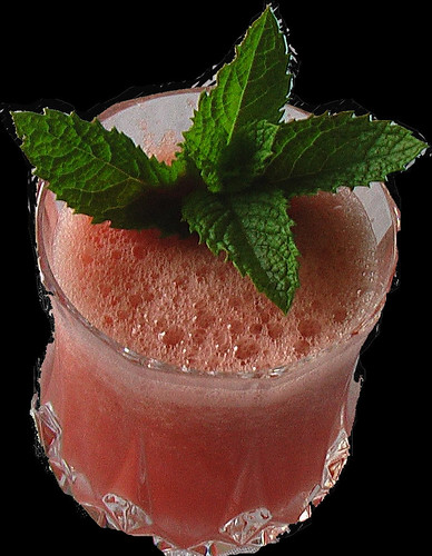 Yummy... watermelon smoothie with mint leaf garnish