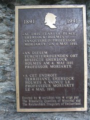 Photo of James Moriarty and Sherlock Holmes brown plaque