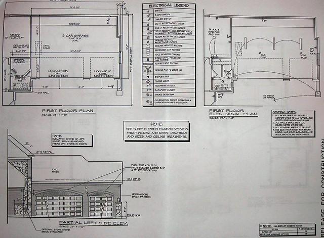 3 car garage floor plan and electrical plan highland. Black Bedroom Furniture Sets. Home Design Ideas