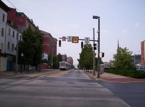 Light rail approaching, Howard Street
