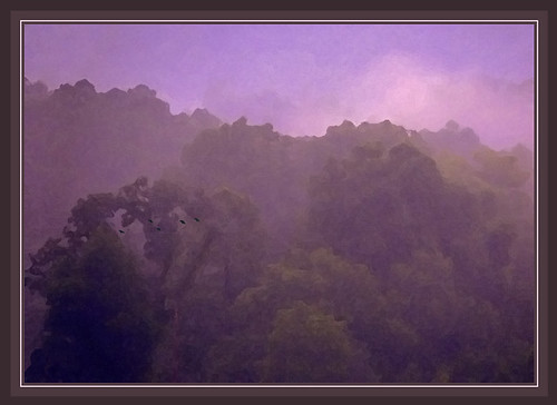 sunset mist photoshop landscape framed artsy