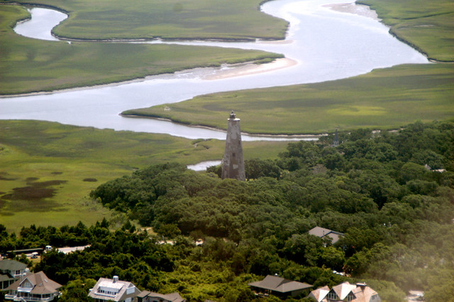 Aerial view of Bald Head island North Carolina