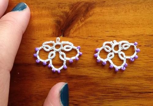 Beaded tatted earrings