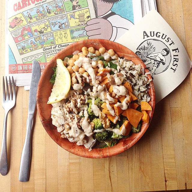 Can't stop, won't stop...favorite lunch in #btv! August First's roasted sesame chicken bowl.