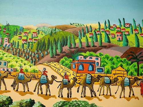 ציור נאיבי רפי פרץ מחווה לצייר ראובן רובין  raphael perez paint after reuven rubin