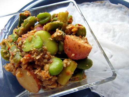 Fava Beans, Asparagus, and Potatoes with Grated Coconut