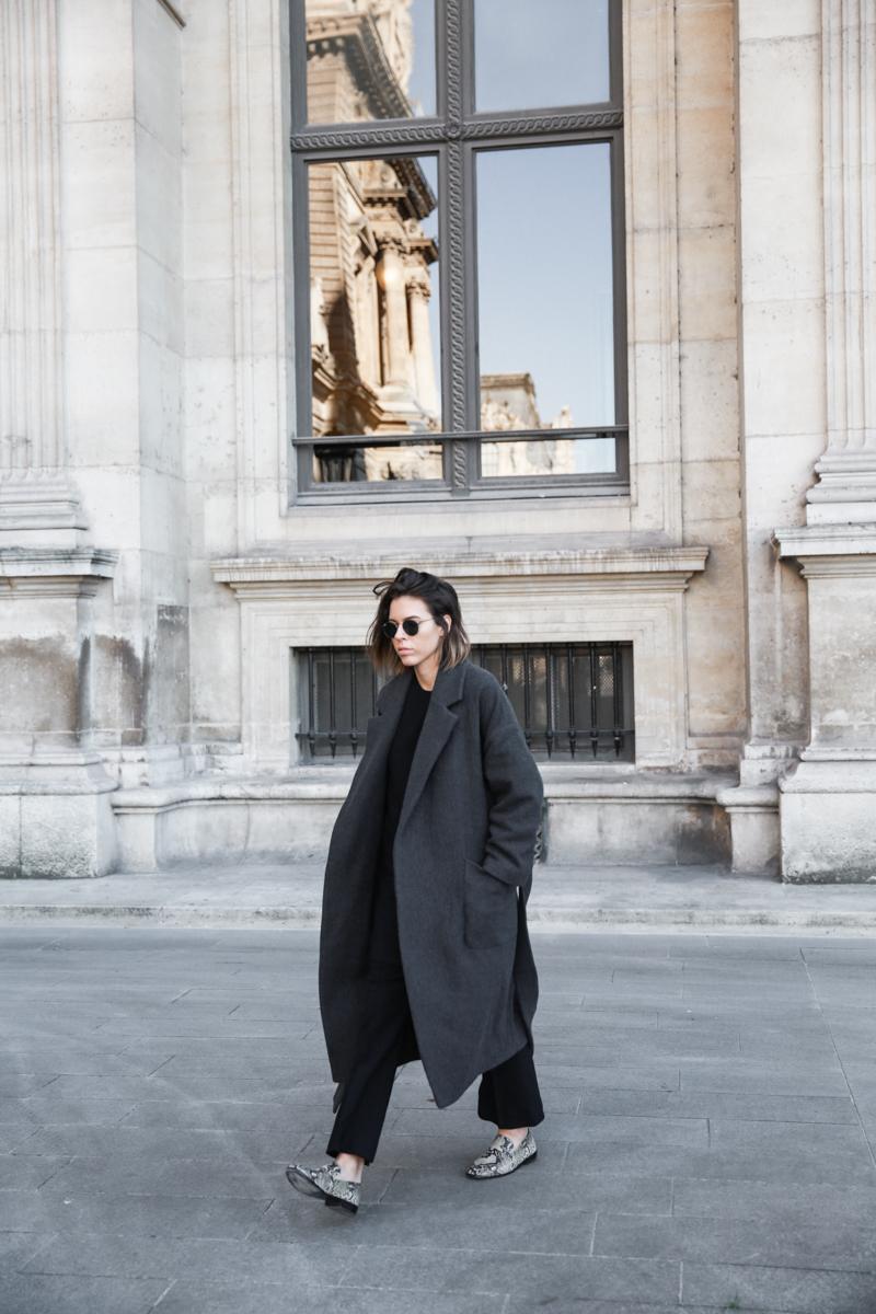 MATCHES x MODERN LEGACY RAEY new season layers Paris fashion week street style snakeskin loafers wrap coat (1 of 1)