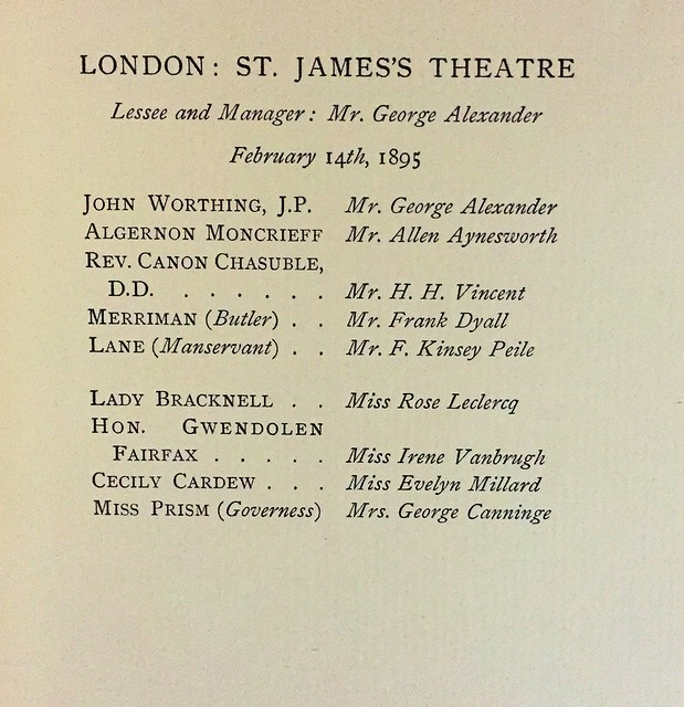 wilde earnest 1899 original cast