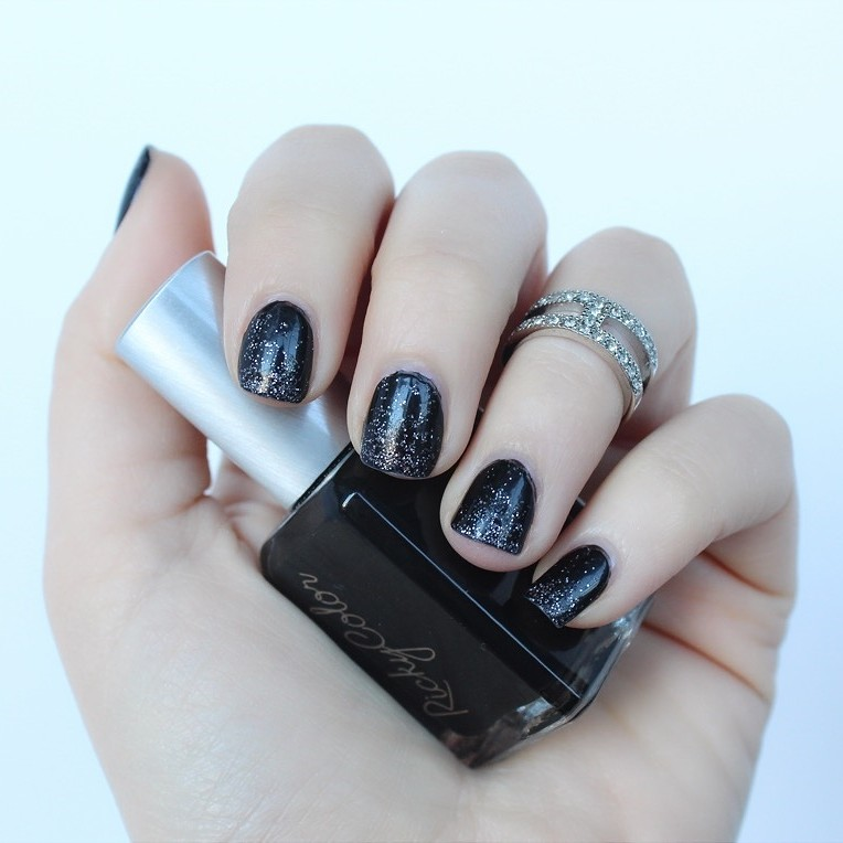 Lazy Girl Halloween Manicure | Black Glitter Nails