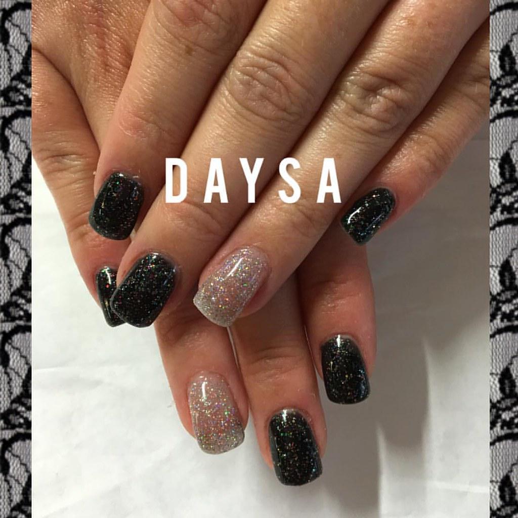 Acrylic Nails With Black Glitter Gel Polish A White Glit Flickr