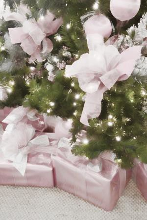 Christmas Presents Wrapped in Pink paper under a Holiday tree