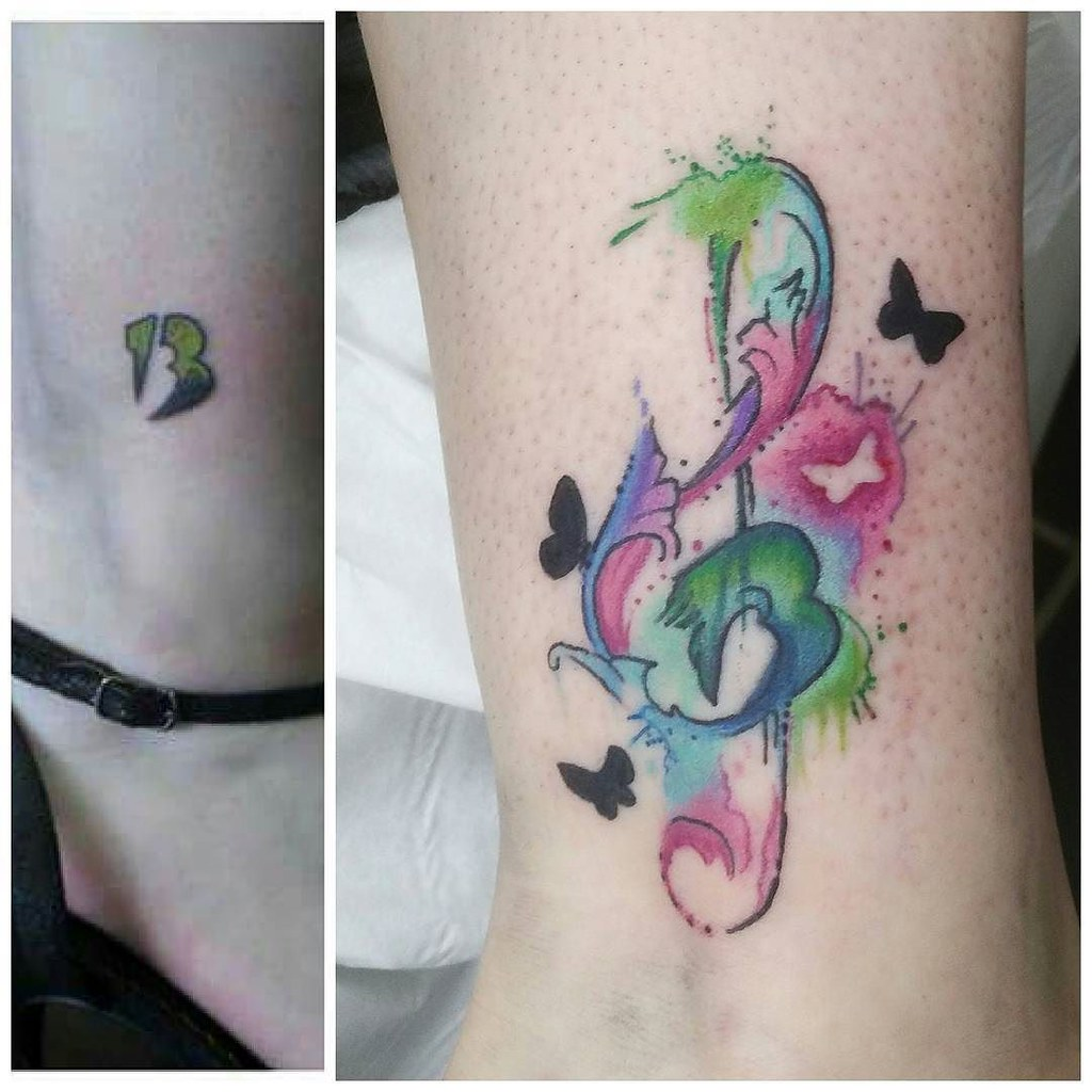 Watercolour Music Note Cover Up Before And After Tattoo