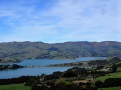 Akaroa Harbour on the South Island of New Zealand. The mountains around the harbour were the walls of a volcanic cone.