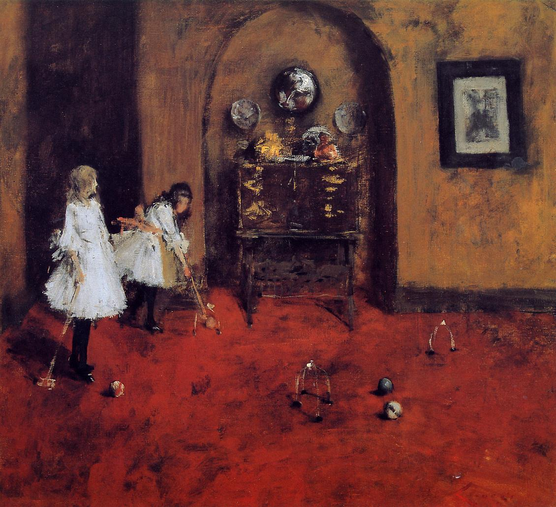 Children Playing Parlor Croquet by William Merritt Chase, c.1888