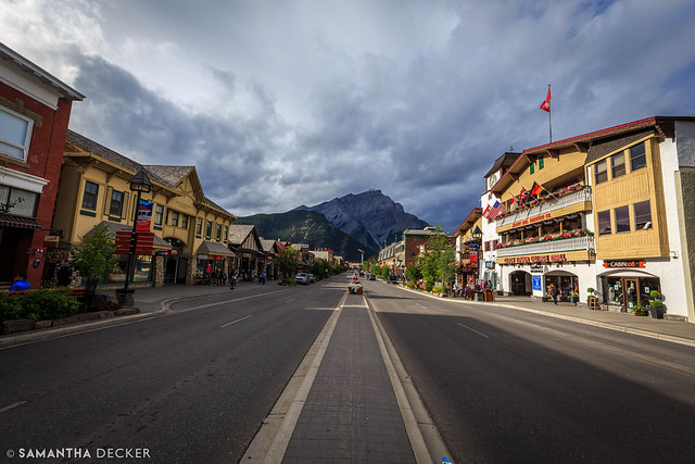 Looking Down Banff Ave