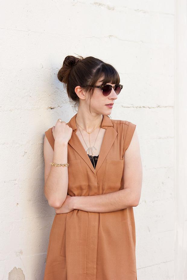 Tan Shirtdress, Layered Necklaces, Stella and Dot