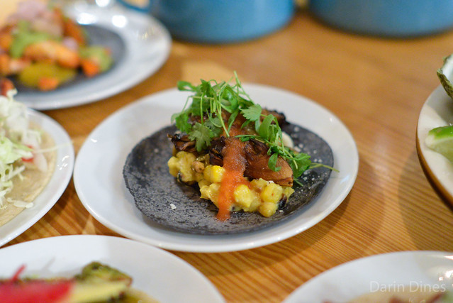 GRILLED MAITAKE MUSHROOM blue corn tortilla, roasted corn, cotija cheese