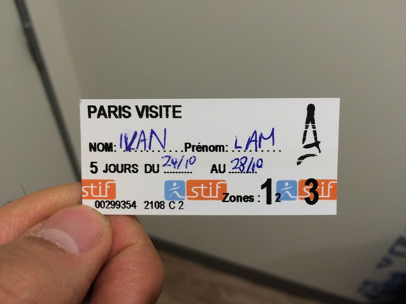 First of many Paris Visite 5-day metro ticket.
