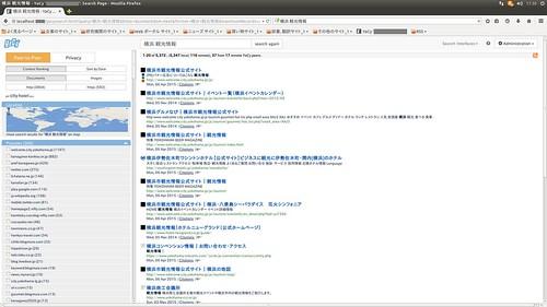 "YaCy_SS_(2015_06_25)_1_Edited_1 分散型インターネット検索エンジン ""YaCy"" のスクリーンショット画像。検索結果の一覧が表示されている。"