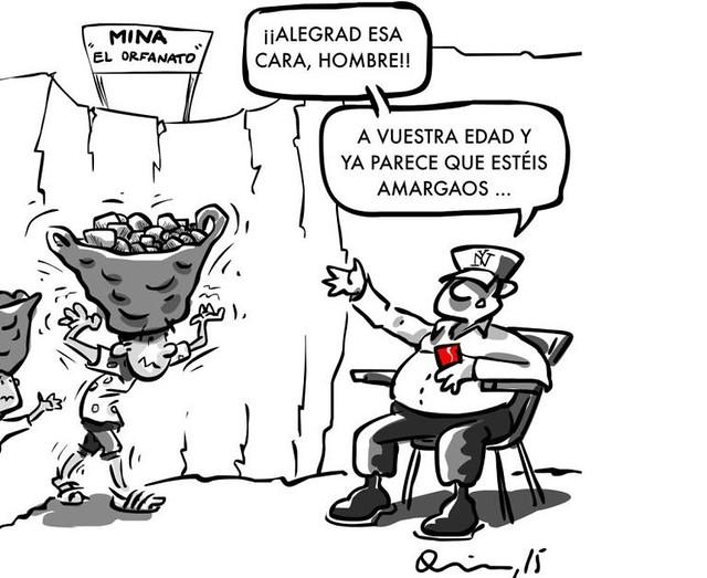 Mina orfanato, participant al concurs humor gràfic sobre drets laborals
