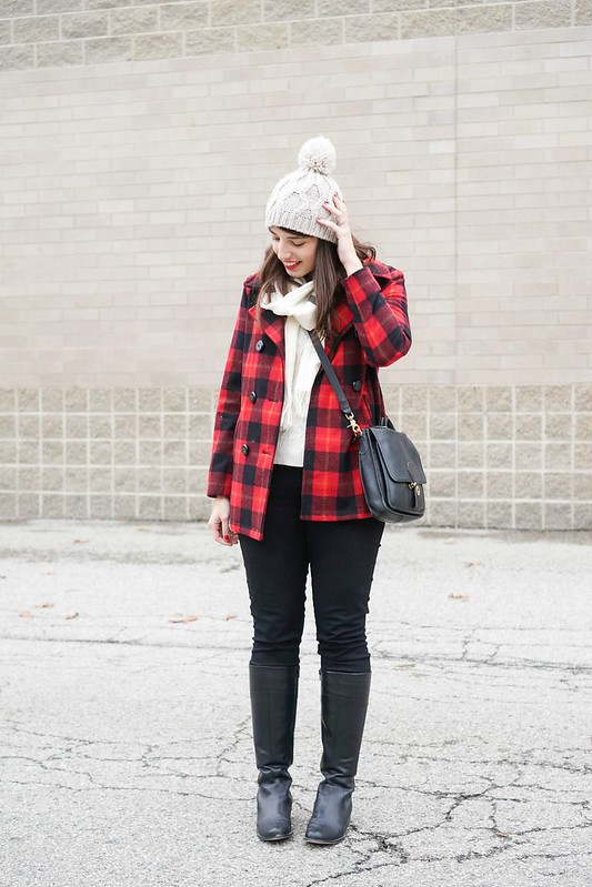 buffalo plaid coat + stripe scarf + cable knit sweater; Style On Target fashion blog