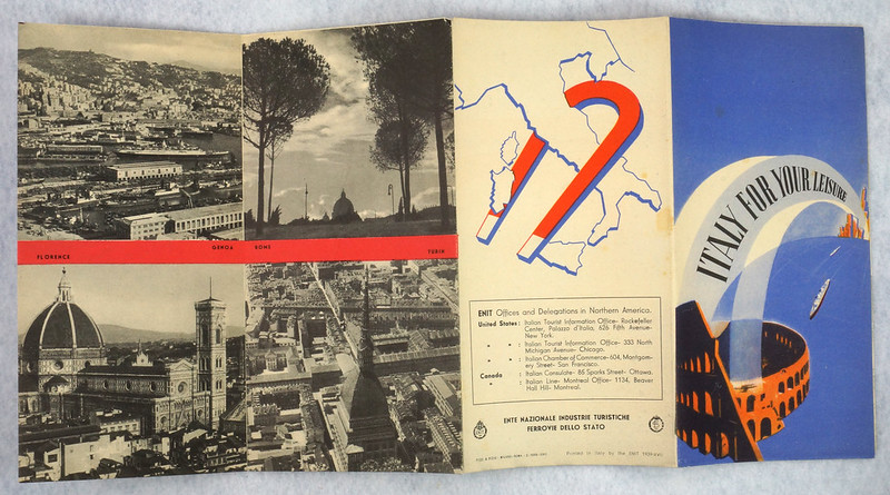 RD12158 Italy For Your Leisure 1939 Travel Brochure New York Worlds Fair Hand Out DSC08608